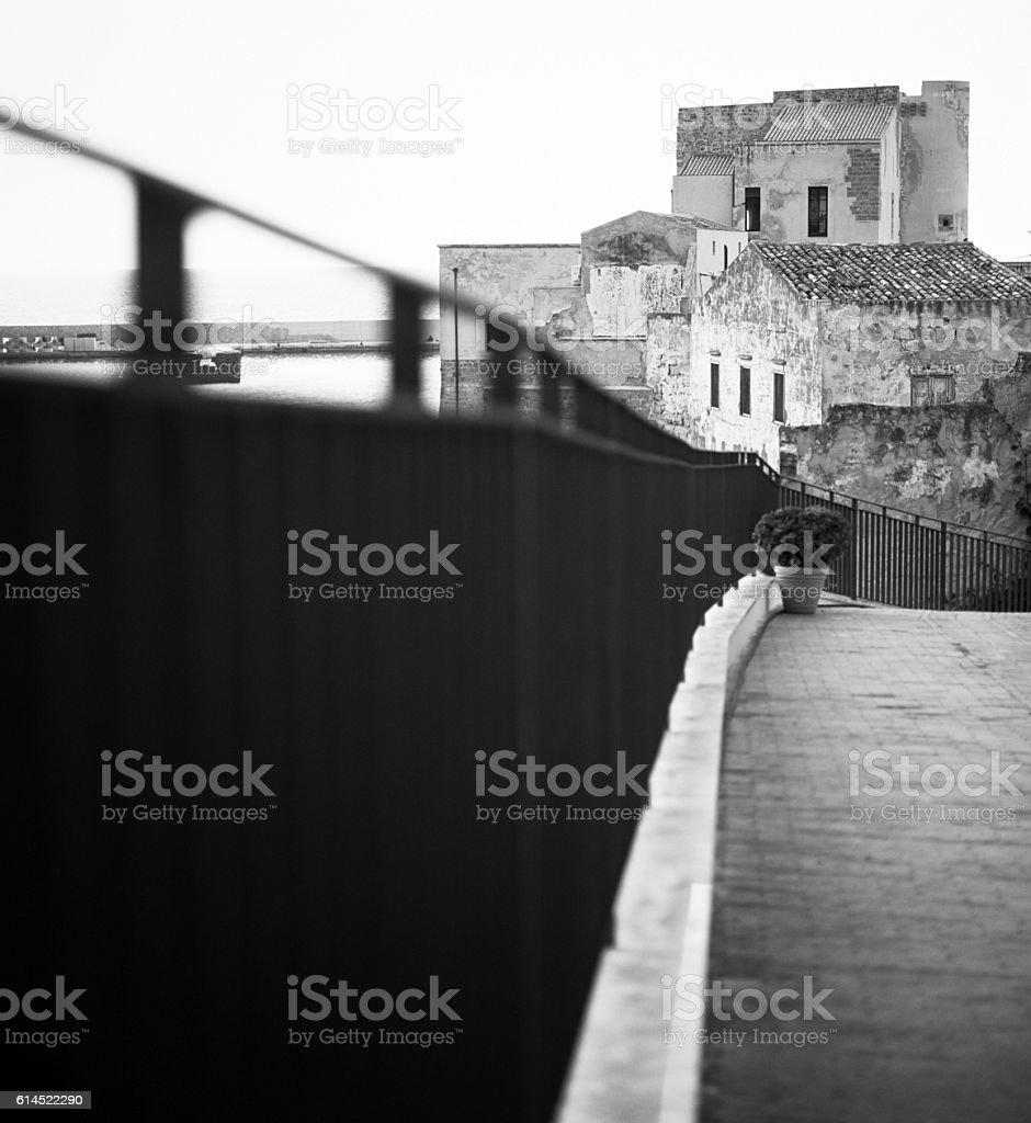 Castellammare del Golfo, Sicily - Bannister in the foreground stock photo
