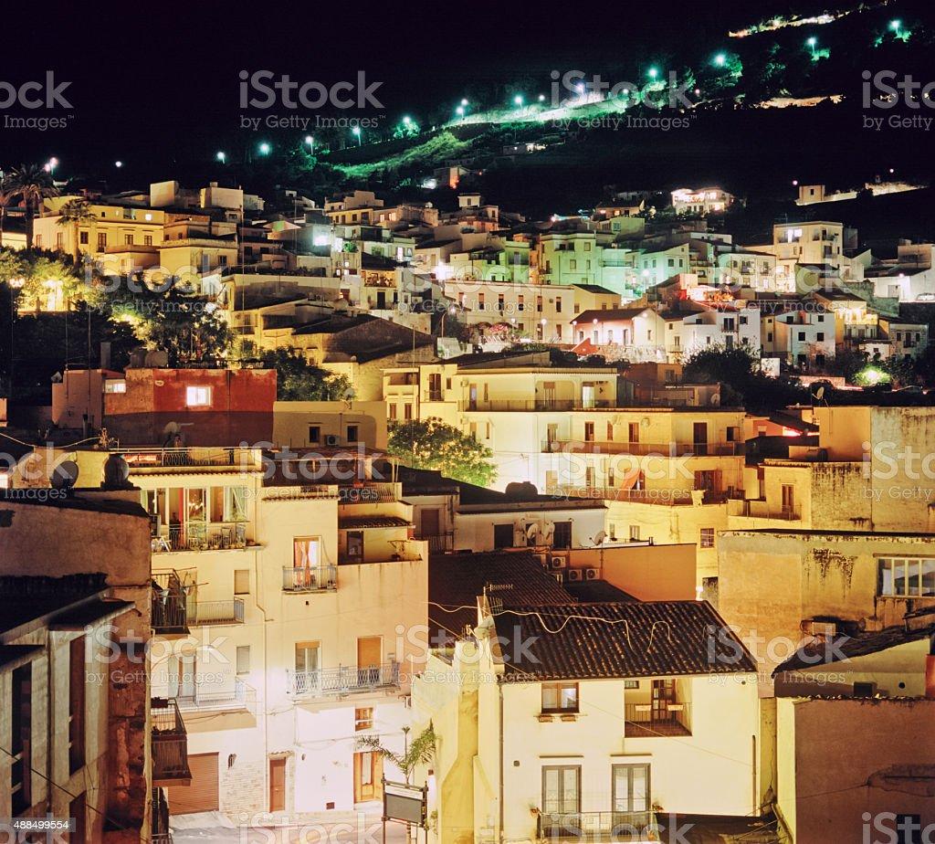 Castellammare del Golfo (Sicily), townscape at night stock photo