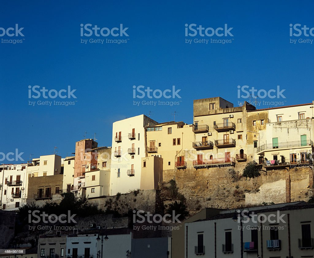 Castellammare del Golfo (Sicily), townscape at sunset stock photo