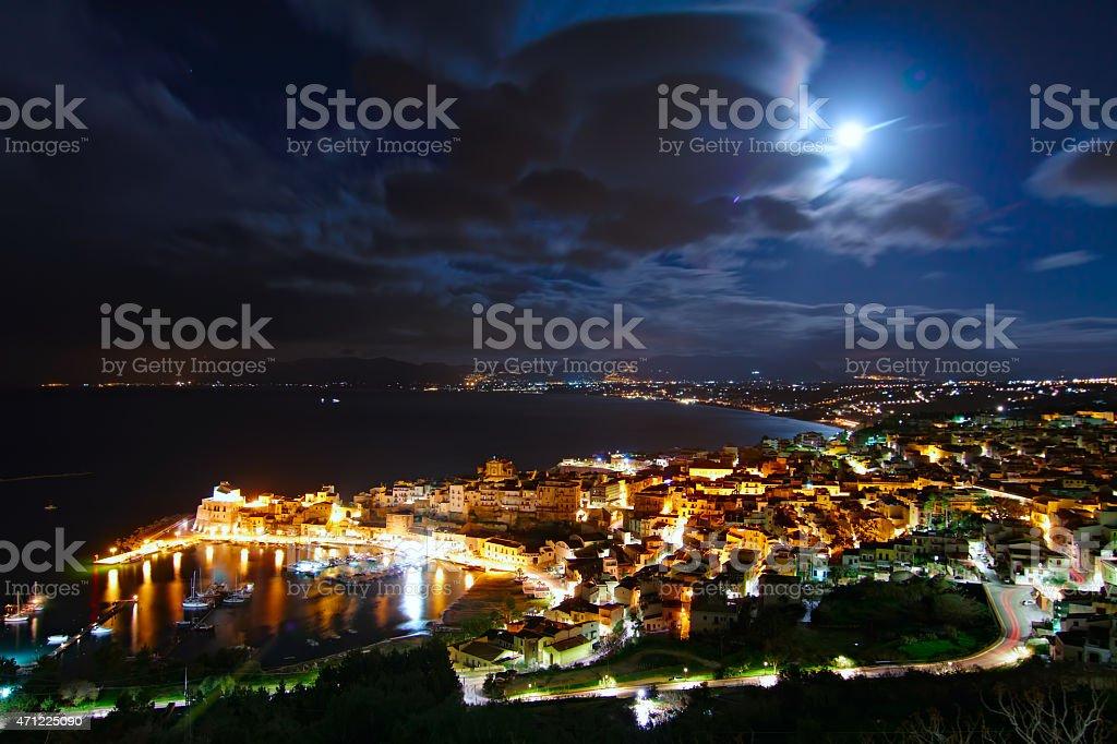 Castellammare del Golfo under the Moonlight stock photo