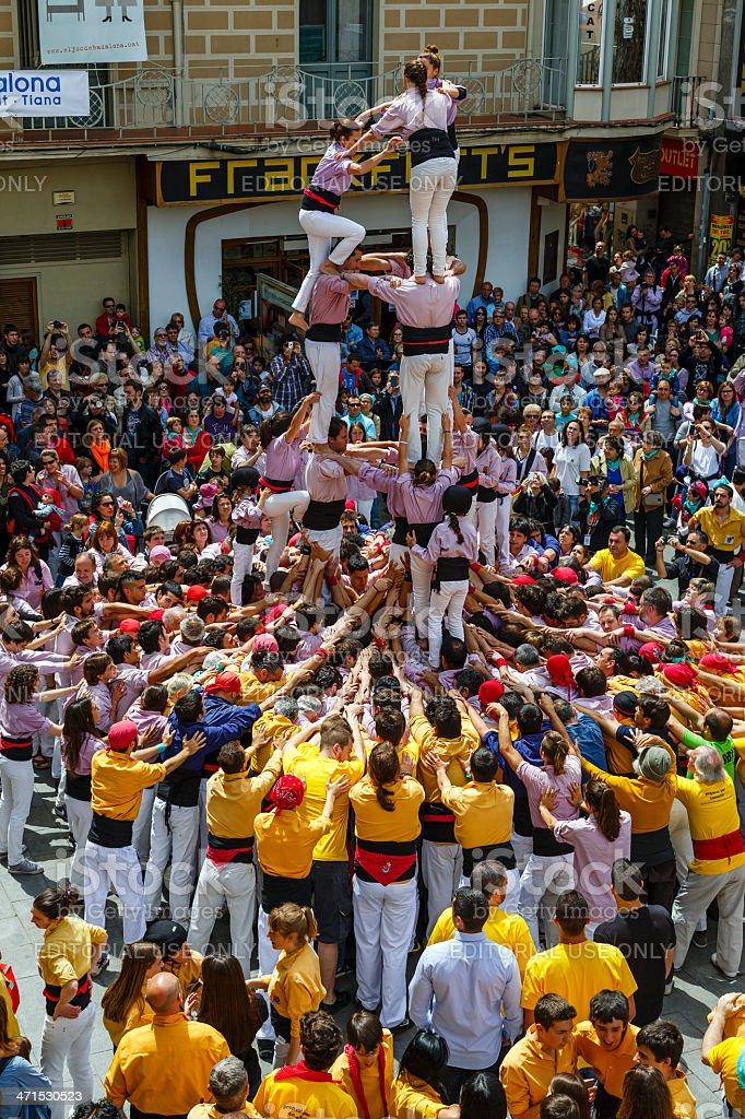 Castellers Barcelona  2013 royalty-free stock photo