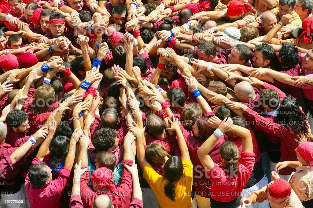 Castellers: building a human castle stock photo