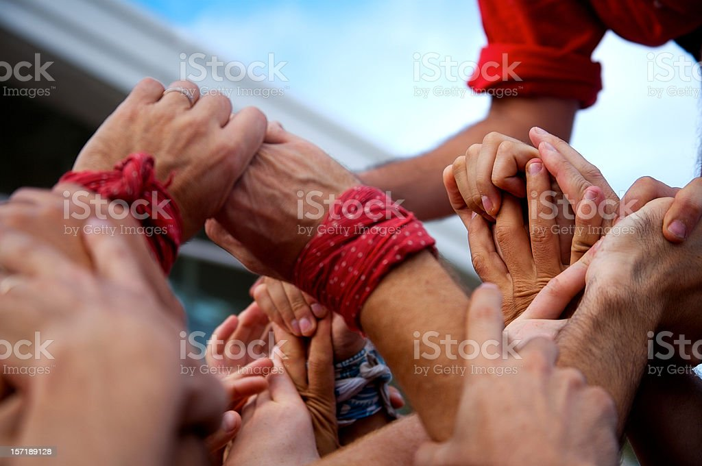 Castellers hands stock photo