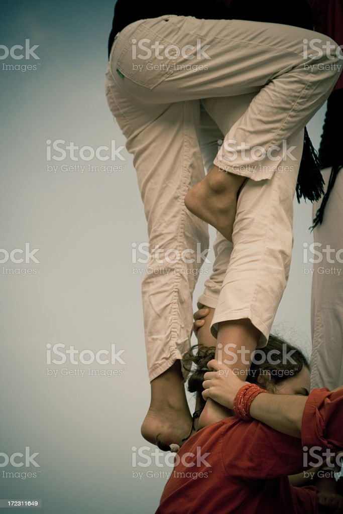 Castellers Human Pyramid stock photo