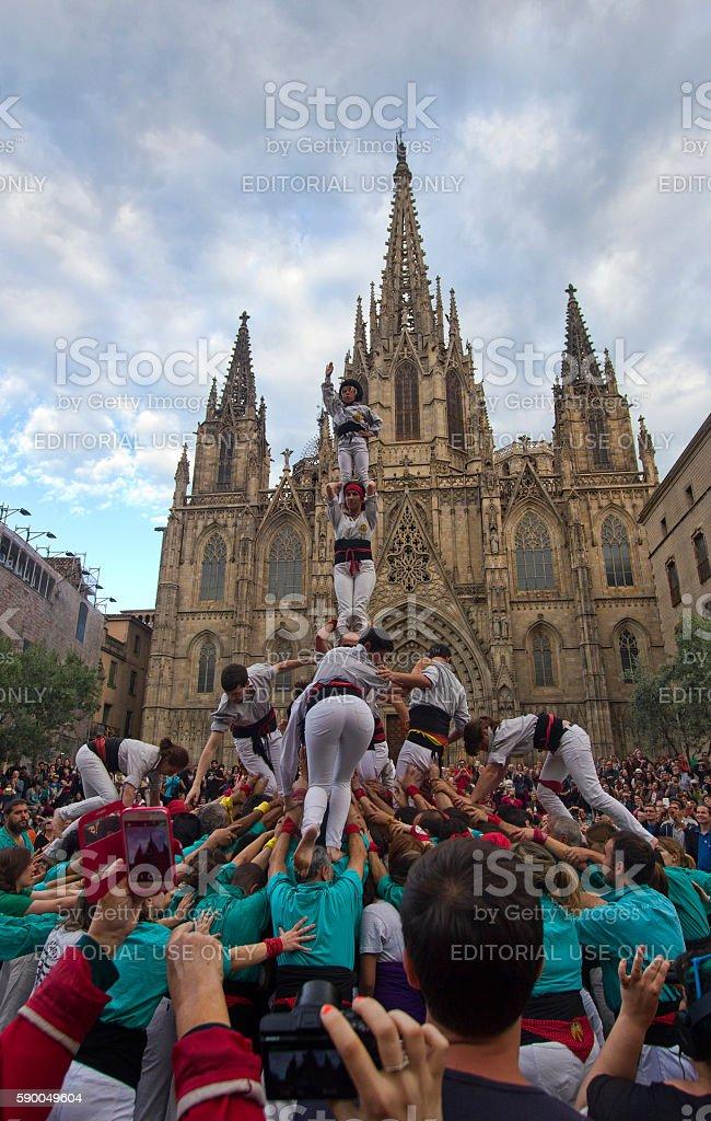 Castellers in Barcelona, Spain stock photo