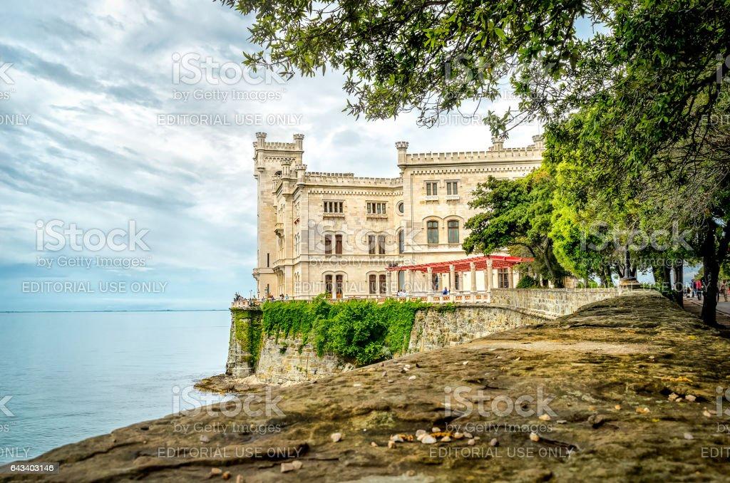 Castello di Miramare in Trieste castle overlooking sea stock photo