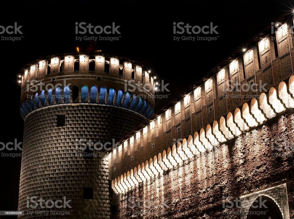 Castello Sforzesco In Milan City By Night stock photo