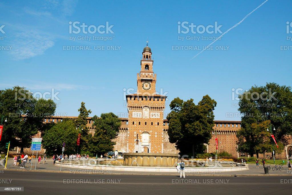 Castello Sforzesco in summer stock photo