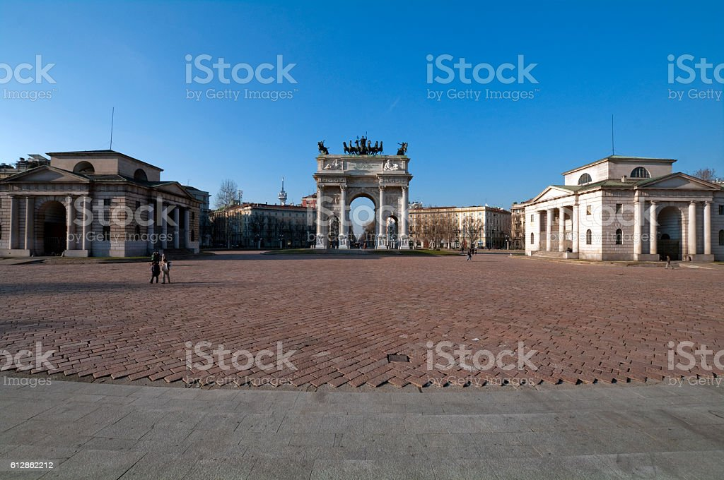 Castello Sforzesco (Sforza Castle) - old landmark of Lombardy stock photo