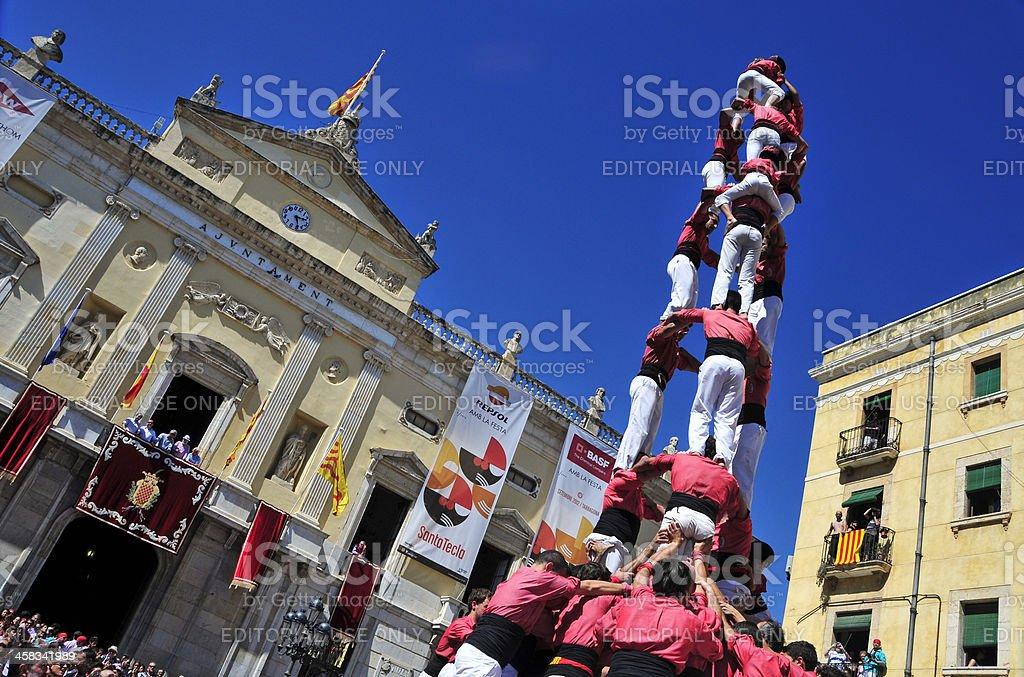 castells, human towers in Tarragona, Spain stock photo