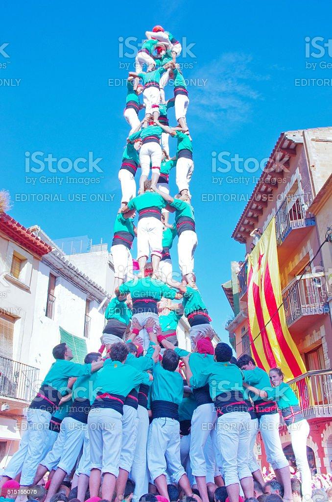 Castells Performance in Torredembarra, Catalonia, Spain stock photo