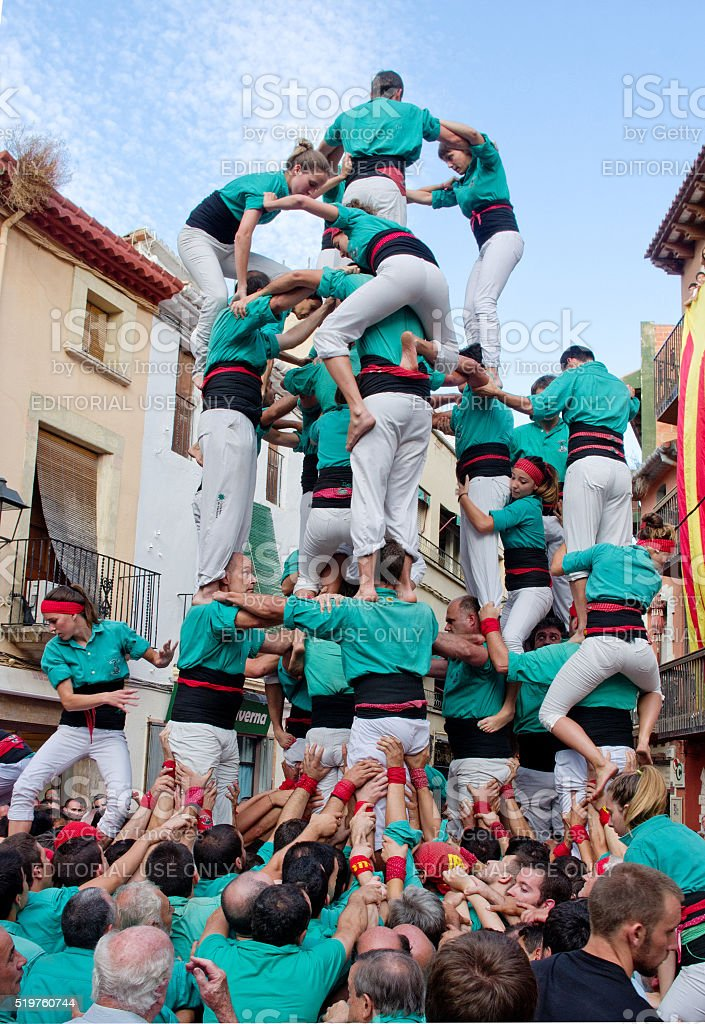 Castells Performance in Torredembarra, Catalonia, Spain stock photo