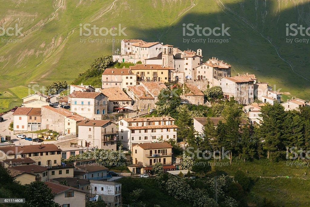 Castelluccio di Norcia before the terrific 2016 earthquake stock photo
