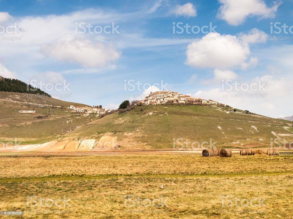 Castelluccio di Norcia big plan stock photo