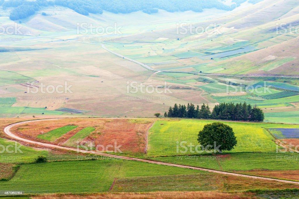 Castelluccio di Norcia (Italy), Village on a green hill stock photo