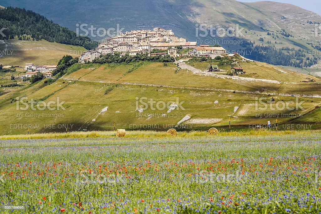 Castelluccio of Norcia before the devastating earthquake in cent stock photo