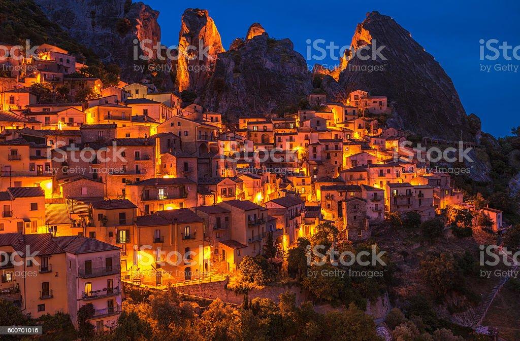 Castelmezzano at night, Basilicata, Italy stock photo