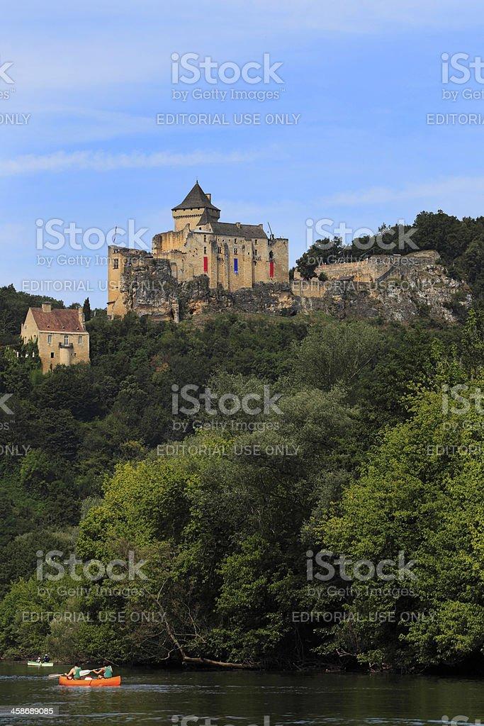 Castelnaud Castle along the Dordogne river stock photo