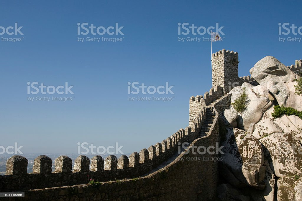 Castelo Dos Mouros wall in the Portuguese town of Sintra royalty-free stock photo