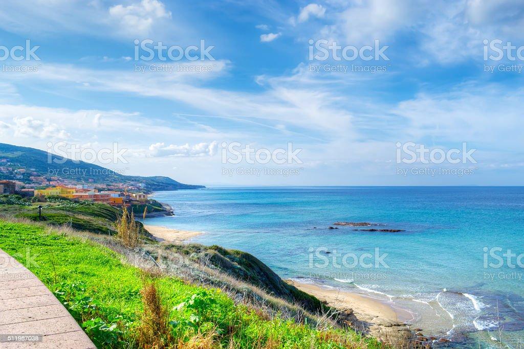 Castelsardo coastline on a cloudy day stock photo