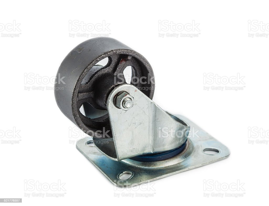 Caster steel wheels stock photo