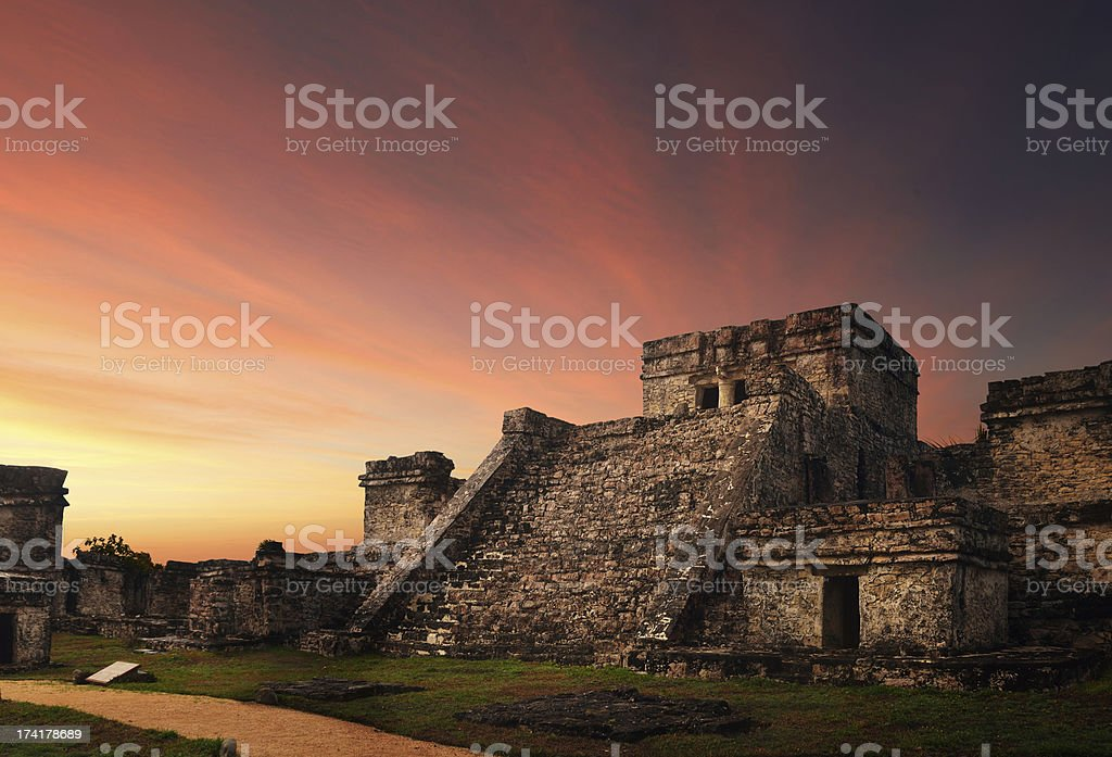 Castillo fortress at sunset in ancient Mayan city of Tulum, stock photo