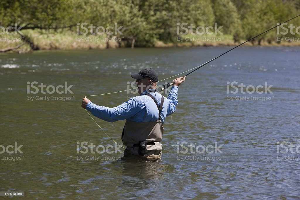 Casting a Fly Rod while Fly-Fishing royalty-free stock photo