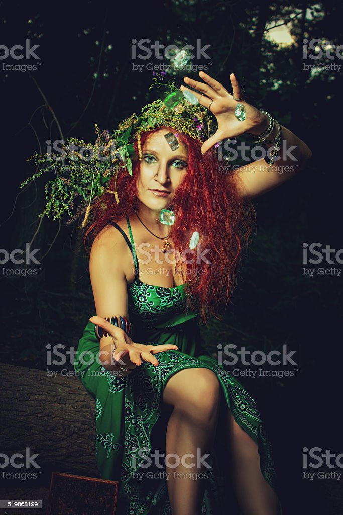 Casting a spell stock photo