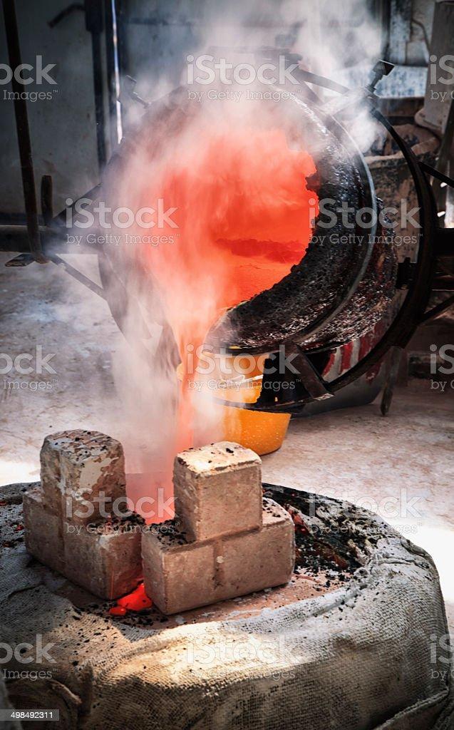 Casting abronze sculpture stock photo