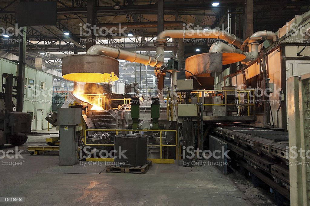 Casting in Steel Mill royalty-free stock photo