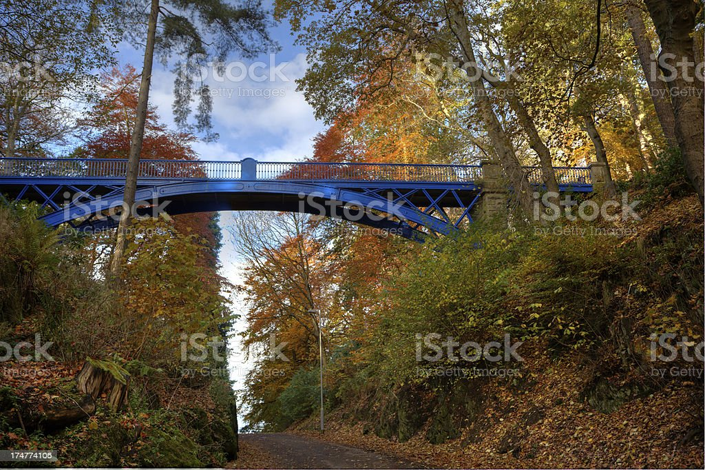 Cast-iron arch Footbridge in Balgay Park, Dundee stock photo