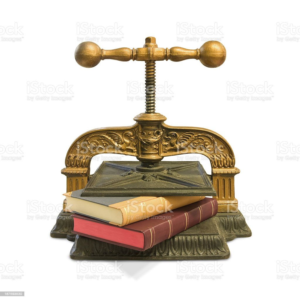 Cast-iron bookbinding screw press, 19th century stock photo