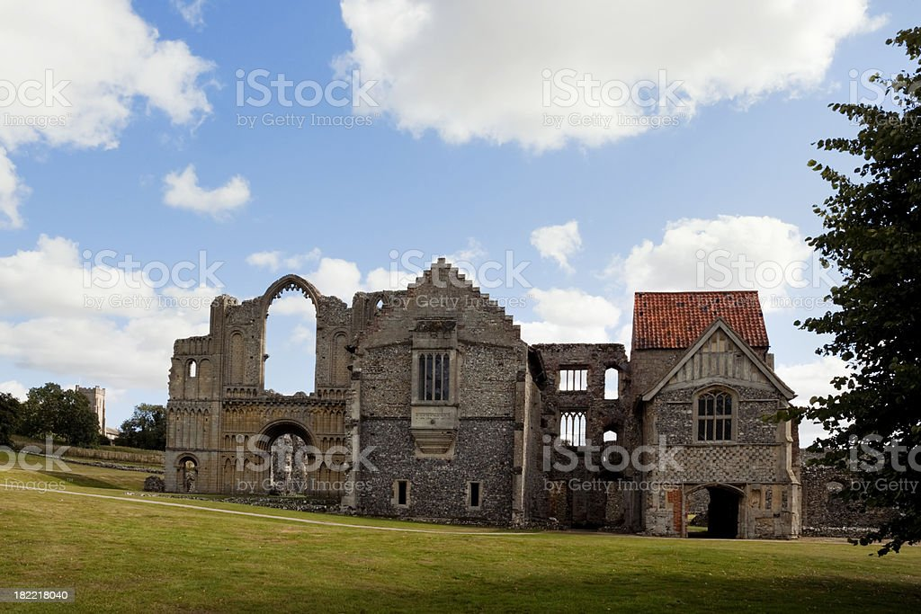 Castle Acre Priory from the front stock photo