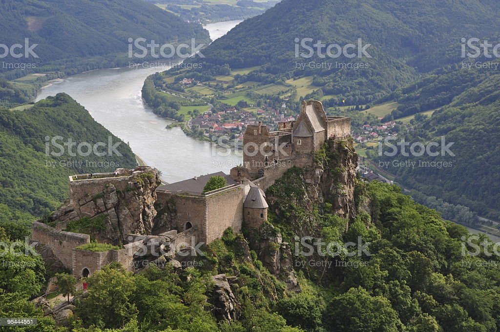 Castle Aggstein in Danube valley stock photo