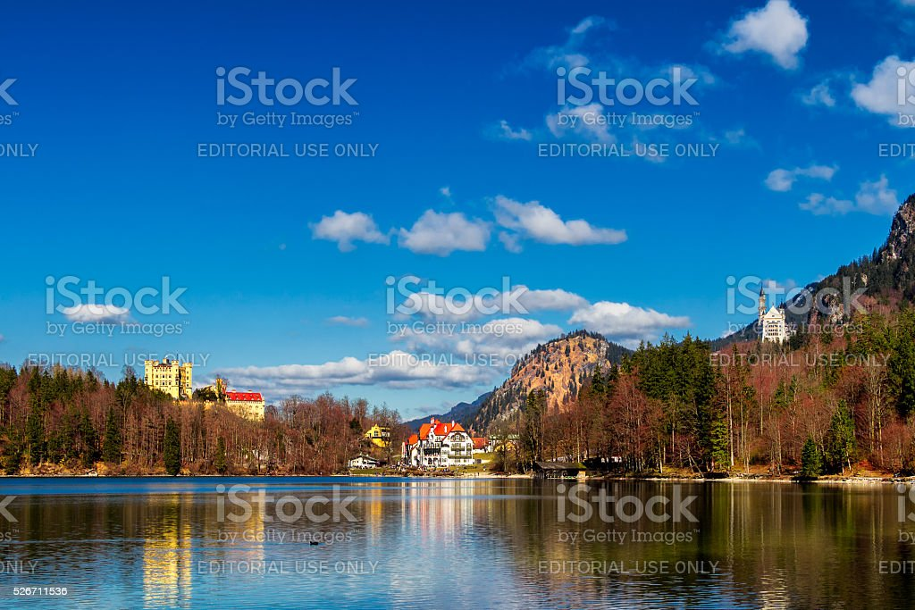 Castle, Alpsee lake, landscape view in spring stock photo