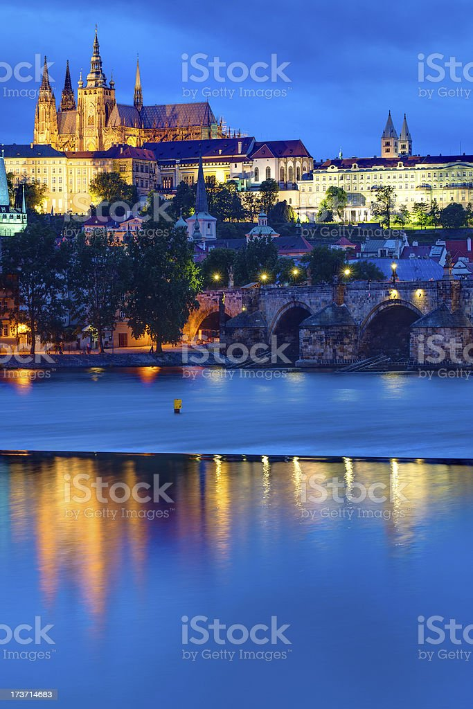 Castle and Charles Bridge in Prague royalty-free stock photo
