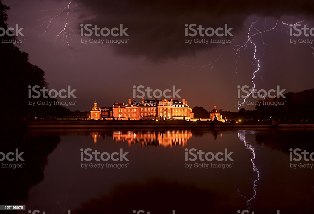 Castle And Lightning Bolts royalty-free stock photo