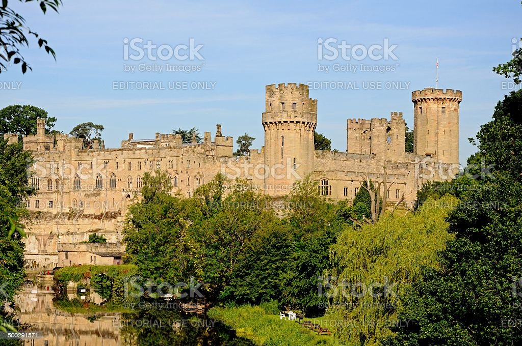 Castle and River Avon, Warwick, UK. stock photo