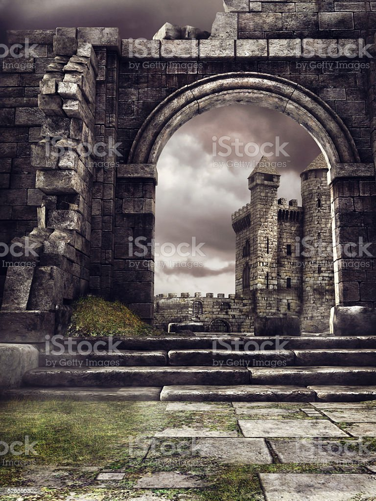 Castle and ruined wall stock photo