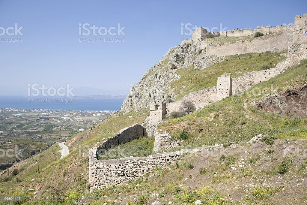 Castle at Acrocorinth stock photo