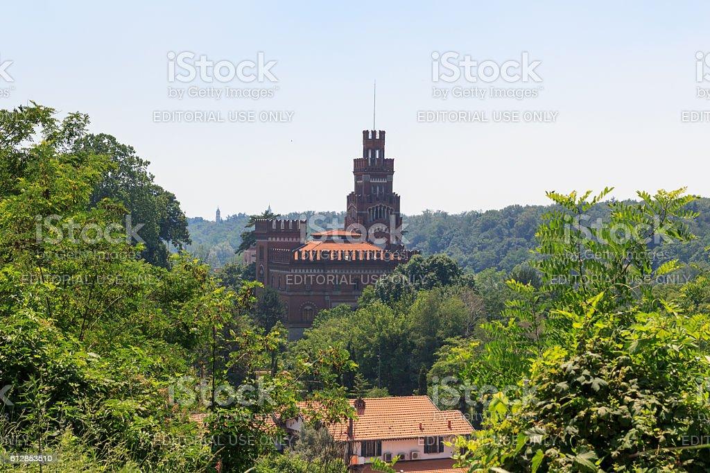 Castle at historic industrial town Crespi d'Adda, Bergamo, Italy stock photo