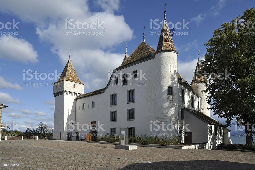 Castle at Nyon on Lake Geneva, Vaud, Switzerland stock photo