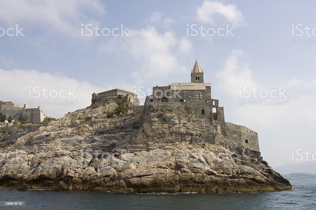 Castle at Riomaggiore stock photo