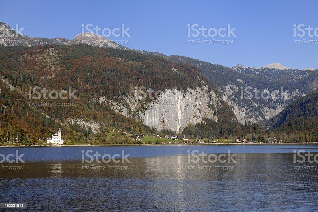 Castle Autumn Mountain Panorama - Austrian Alps (XXXL) stock photo