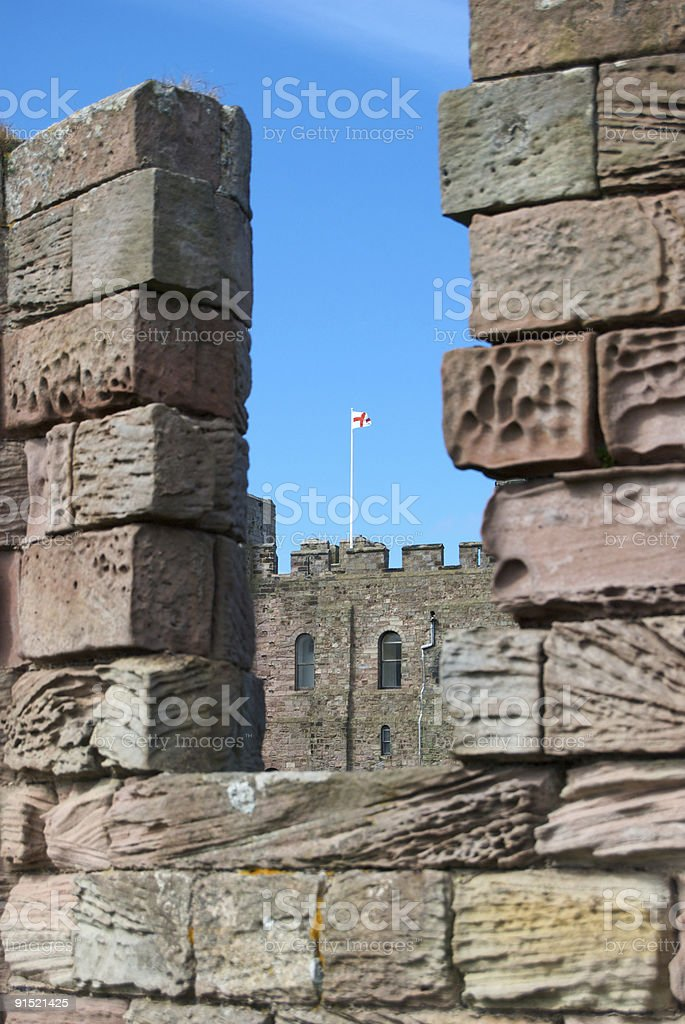 Castle battlements, Bamburgh stock photo