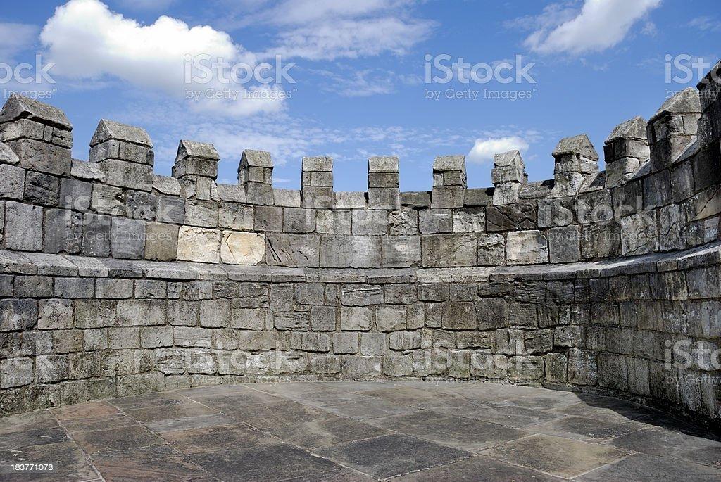 Castle battlements stock photo