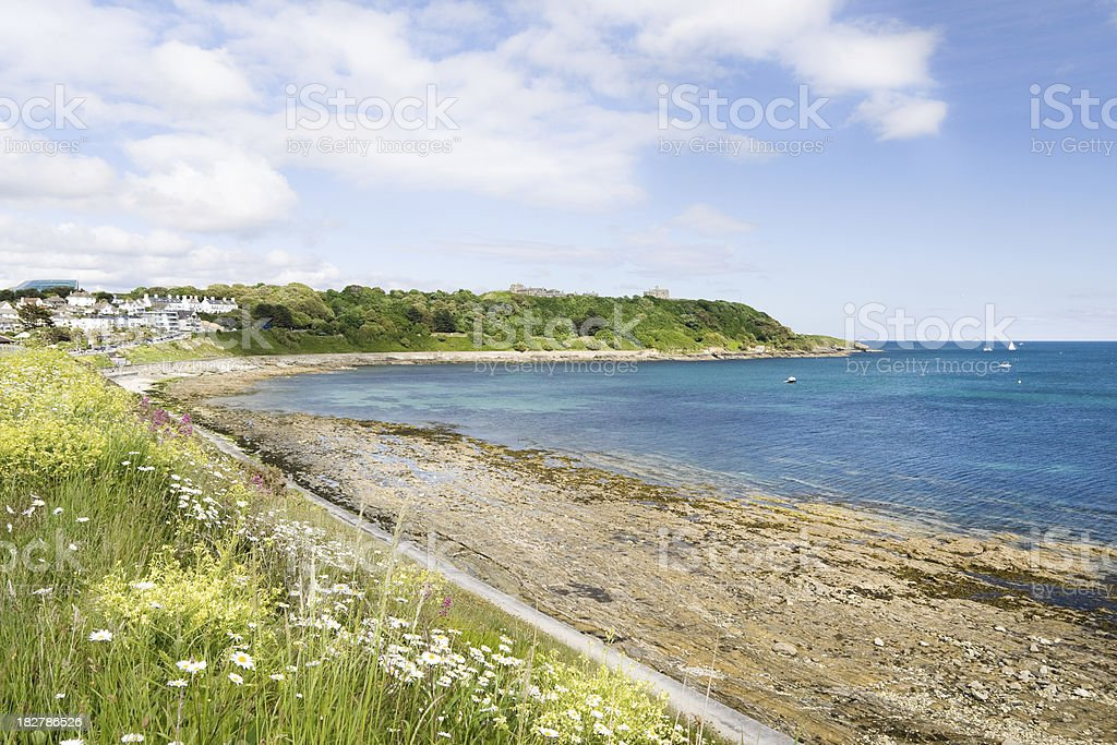 Castle Beach and Pendennis point in Falmouth stock photo