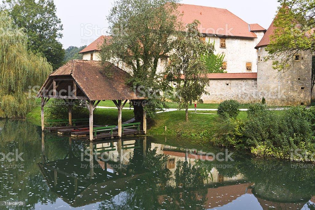 castle boathouse stock photo