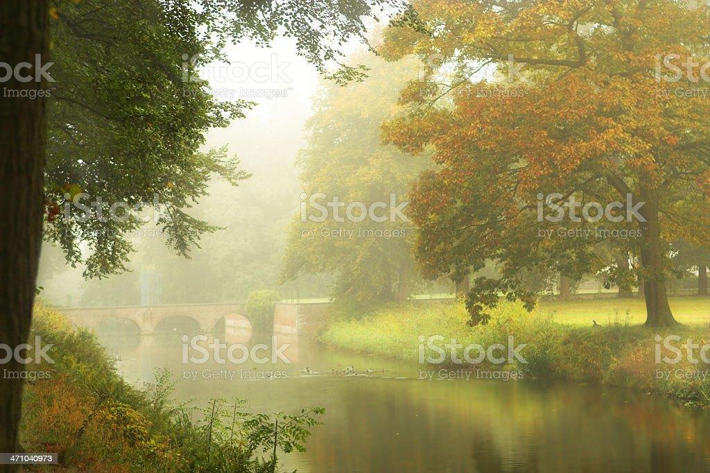 Castle bridge in the mist stock photo