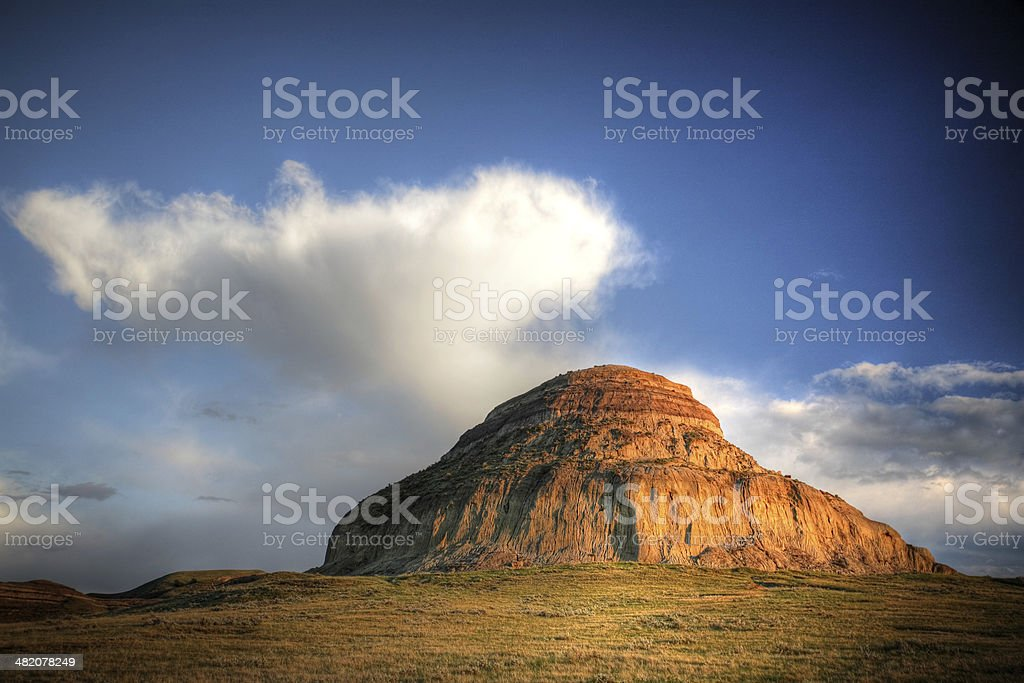Castle Butte in Big Muddy Valley in Southern Saskatchewan stock photo